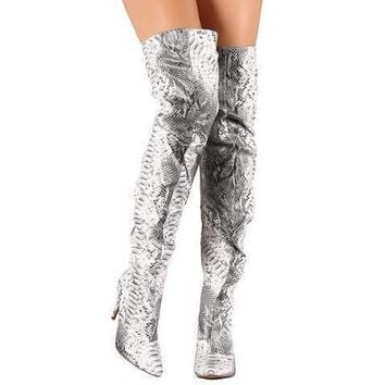 Sexy Silver Metallic Snake Thigh High Dress Boots