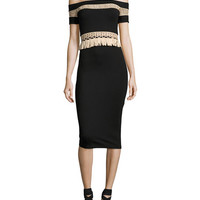 Alexis Bailey Off-the-Shoulder Fitted Midi Cocktail Dress, Black