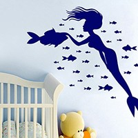 Wall Decal Vinyl Sticker Decals Mermaid Nymph Nature Fish Sea Animal Wall Stickers Home Decor Nautical Bathroom Art Bedroom Design Interior Wall Decor Mural C217