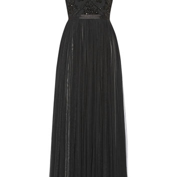 Needle & Thread - Embellished crepe and mesh gown