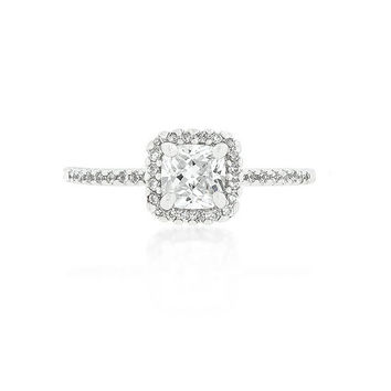 Cubic Zirconia Engagement Ring  - Cubic Zirconia Halo Ring - Engagement Ring - Princess Cut - Anniversary - Wedding Ring