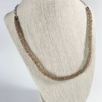 Silver Beaded Kumihimo Necklace, Silver Necklace, Seed Beads, Braided Necklace, Kumihimo Jewelry, Beaded Necklace, Japanese Braid, Kumihimo