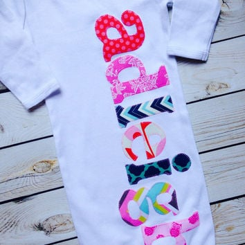 sweet sprouts girls personalized name monogram newborn gown hospital outfit
