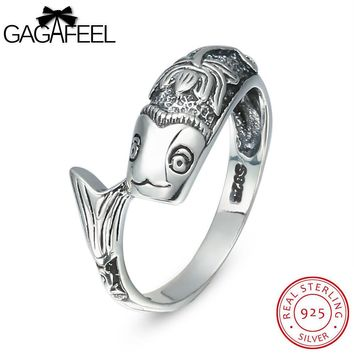 GAGAFEEL Truly Sterling-Silver-Jewelry Fish Lotus Ring For Men With 2MM Punk Luxury Gift  Male Accessory