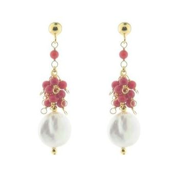 Clustered Pearls & Coral Earrings