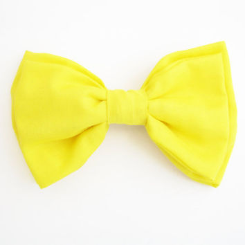 Bright yellow bow hair clip, hair pin, bow headband, cotton bow hairclip