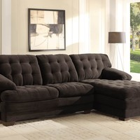 A.M.B. Furniture & Design :: Living room furniture :: Sofas and Sets :: Sectional Sofas :: 2 pc Brooks Collection chocolate textured plush microfiber upholstered tufted seat and backs sectional sofa set with chaise