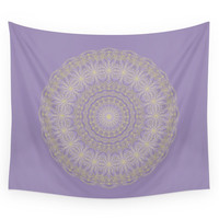 Society6 Lotus Mandala In Lavender And Gold Wall Tapestry