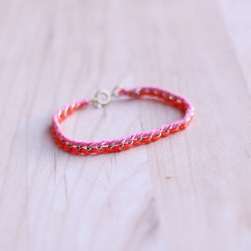 Neon orange pink gold chain friendship bracelet, vintage refashion, customizable, many color options