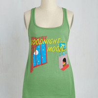 Quirky Mid-length Sleeveless Novel Tee Top in Goodnight Moon