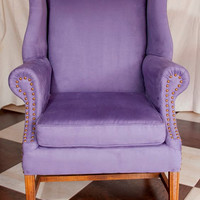 Lilac Suede Reupholstered Wingback Chair Finished with Classic French Antique Gold Tacks