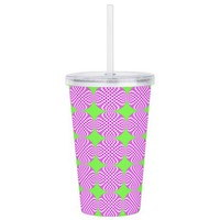 Mod pink green circle Acrylic Double-wall Tumbler