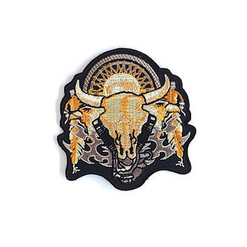 Buffalo Skull Embroidered Patch Size 8.5 x 8.7 cm