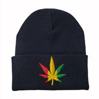 Weed Leaf Embroidered Warm Winter Beanie Womens & Mens Knitted Black Cuffed Skully Hat