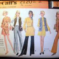 Vintage '69 Dress, Vest, Jacket, Pant Suit Misses' Size 18 McCall's 2120 Sewing Pattern