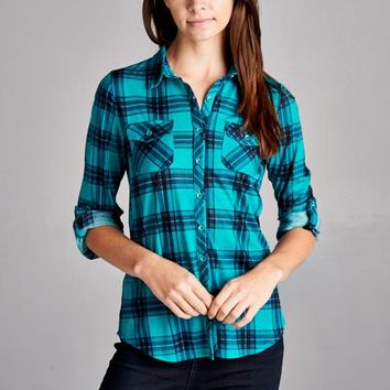 Pretty In Plaid Teal Shirt