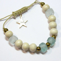 Aqua recycled glass and wood bead bracelet with hematite eco-friendly sustainable