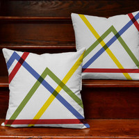 Modern Lines Throw Pillows - Covers only with or without Cushion Inserts -  Minimalist Room Decor, Geometric Print, Primary Color Pillow Set