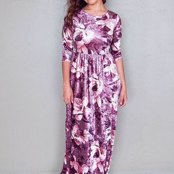 Bouquet Pink Floral Print Velvet Long Sleeve Maxi Dress