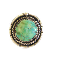 Navajo Sterling Round Turquoise Ring Size 6