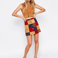 ASOS A Line Skirt In Patchwork Suede With Button Through