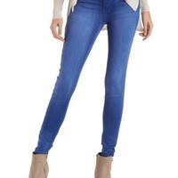 Med Wash Denim Blue Skinny Jeans by Charlotte Russe