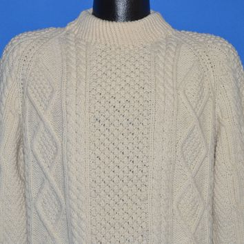 80s Wool Aran Irish Cable Sweater Large