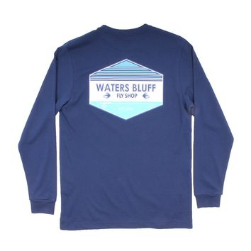 Fly Shop Long Sleeve Tee in Navy by Waters Bluff