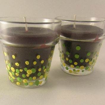 Hand Painted Green and Yellow Spotted Glass Votive Candle Holder, Green Spotted Candle Holder, Glass Votive, Set of Two 2