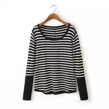 Stripe Long-Sleeve Button Back Pullover Shirt