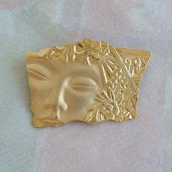 JJ Unsigned Hawaiian Asian Woman Face Pin Retro Art Nouveau Style Vintage Jewelry