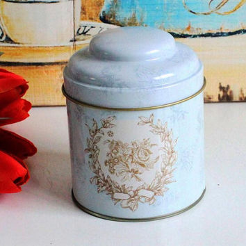 Retro Light Blue Flower Kitchen Coffee Tea Sugar Container Jar Can Tin Metal Home Decor Can