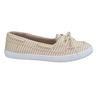 Oatmeal Combo Cate Striped Boat Shoe - Beige