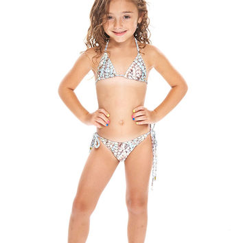Kids Nana's Pearls Triangle Tie Side Bikini