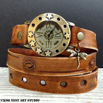 Women's watch, womens wrist watch antique, Vintage looking bracelet wrap, Leather wrap bracelet with dragonfly charm