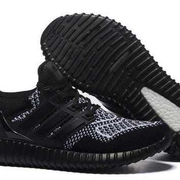 Custom YEEZY 350 Boost Pirate Black x Adidas Ultra Boost Black Reflective Primeknit - Hybrid Customs