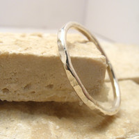 Stacking Ring Hammered Silver 14