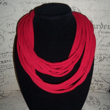 Deep Red Infinity Scarf.... Trendy Eternity Scarf...T-shirt Loop Scarf....Large Cowl....Light Weight Circle Scarf