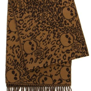 Brown Leopard Print Skulls and Roses Scarf