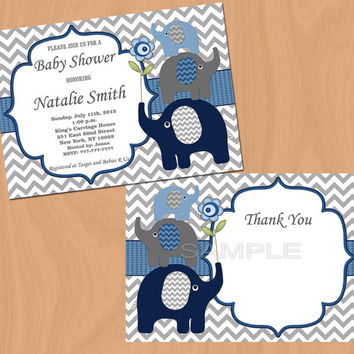 Elephant Baby Shower Invitation Boy Baby Shower invitations Printable Baby Shower Invite -FREE Thank You Card - editable pdf Download (57b)