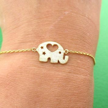 Little Round Elephant Shaped Charm Bracelet in Gold