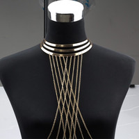 Gold Body Chain Women Necklaces & Pendants Alloy Long Necklace Chokers Sexy Statement Jewelry