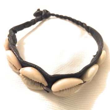 Traditional West African Design Cowry Shell Leather Bracelet Design I by Doorstoafrica