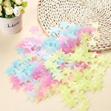 ICIK7Q 100pcs Luminous Wall Stickers Glow In The Dark Stars Sticker Decals for Kids Baby rooms Colorful Fluorescent Stickers Home decor