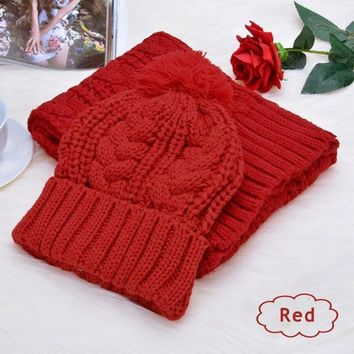 Fashion Womens Knit Handmade Hat And Scarf Winter Set Knitting Skullcaps Collars  Y107