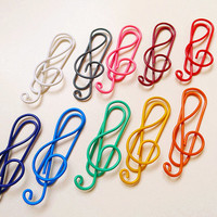 10 Pcs Paper Clips Musical Shaped Metal Bookmarks Rainbow Color