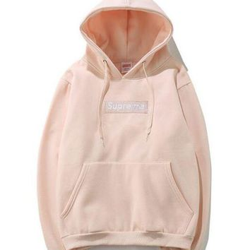 VONERE1 Supreme Fashion Loose Pullover Hooded Sweater Pink