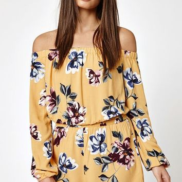 Kendall & Kylie Poet Sleeve Off-The-Shoulder Romper at PacSun.com