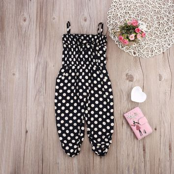2017 Casual Summer Toddler Kids Baby Girls Polka Dot Romper Jumpsuit Playsuit Outfits