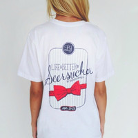 Lauren James Life is Better in Seersucker Tee in White